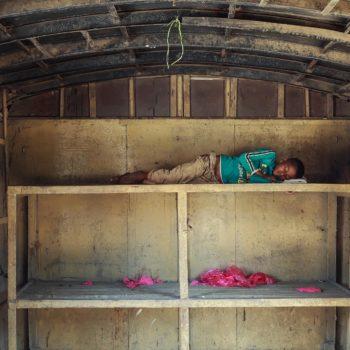 Tired sleep of a homeless child